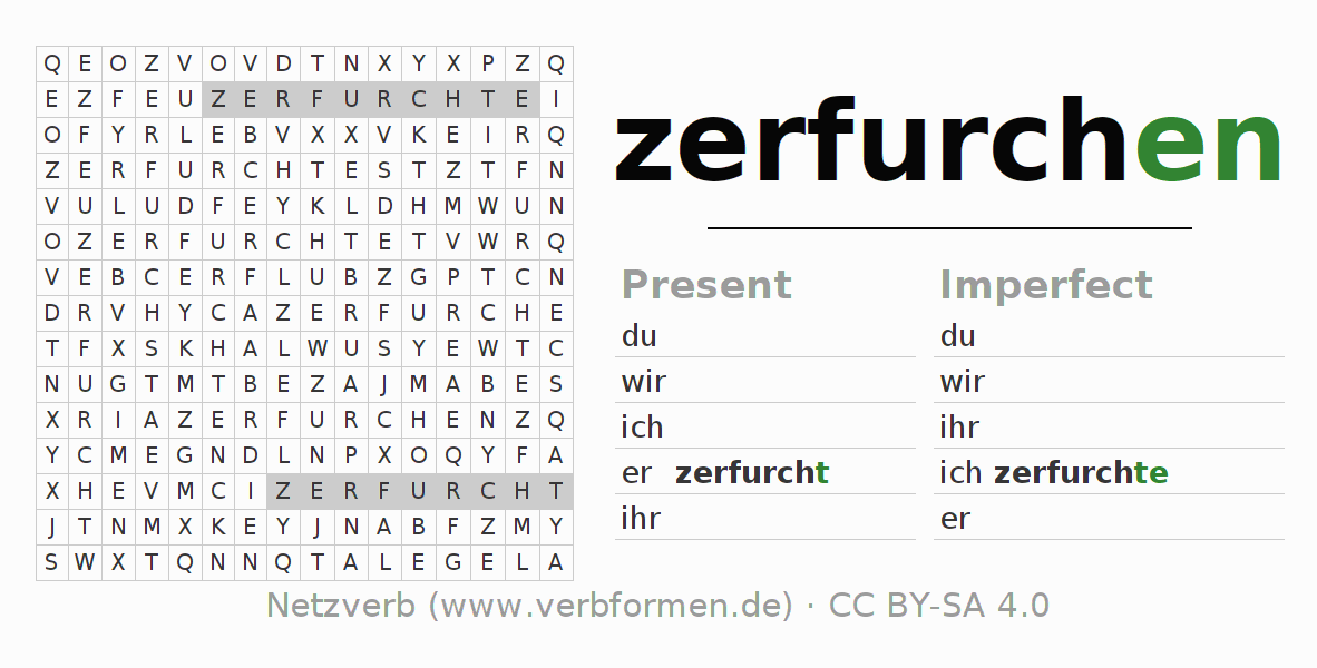 Word search puzzle for the conjugation of the verb zerfurchen