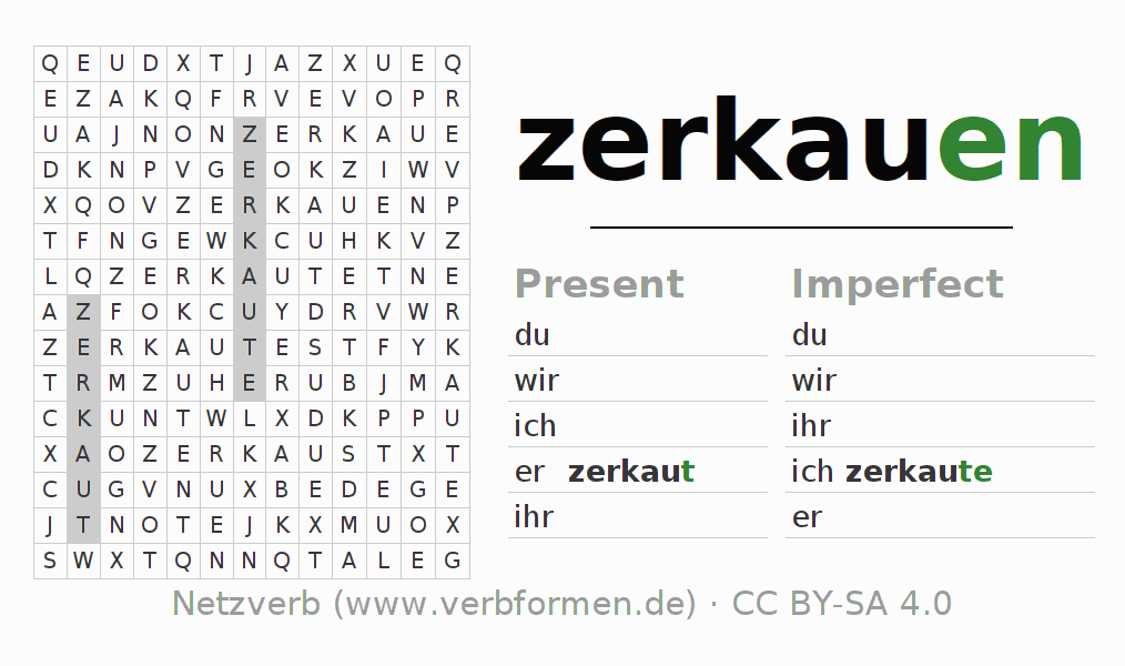 Word search puzzle for the conjugation of the verb zerkauen