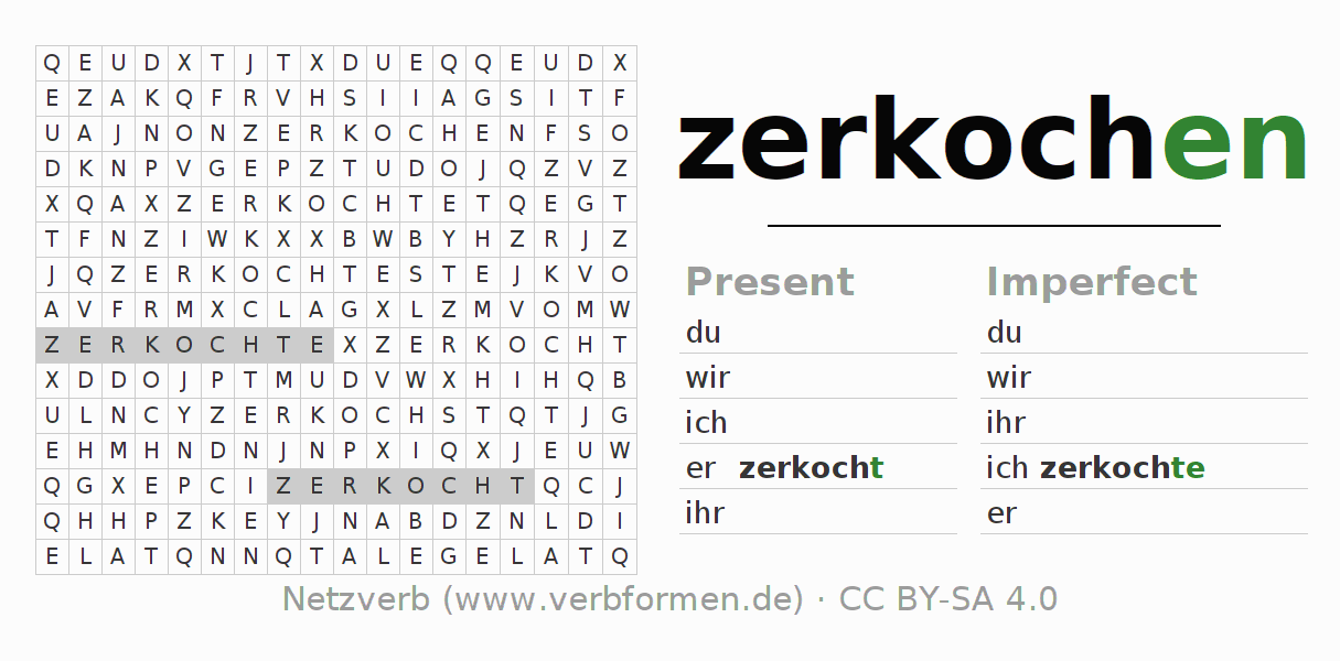 Word search puzzle for the conjugation of the verb zerkochen (hat)