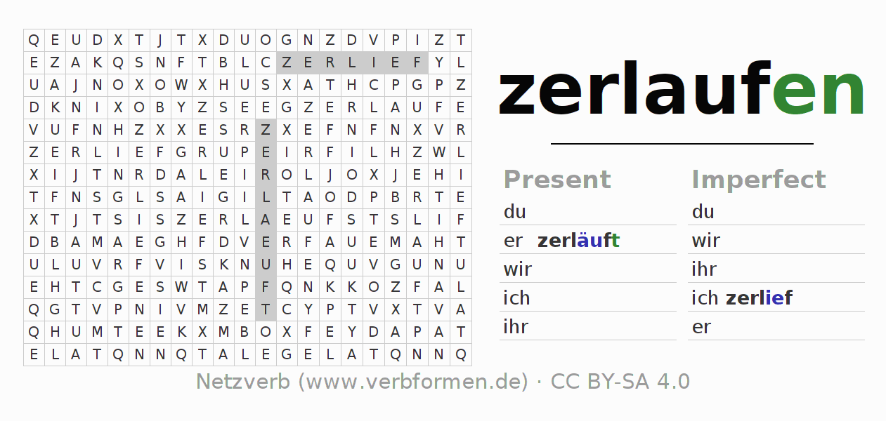 Word search puzzle for the conjugation of the verb zerlaufen