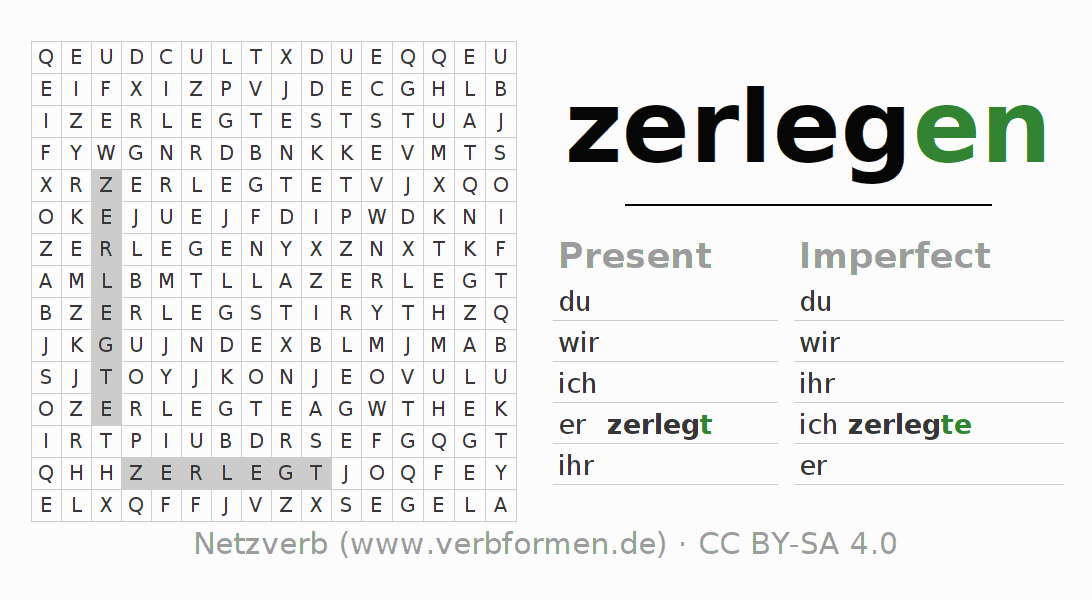 Word search puzzle for the conjugation of the verb zerlegen