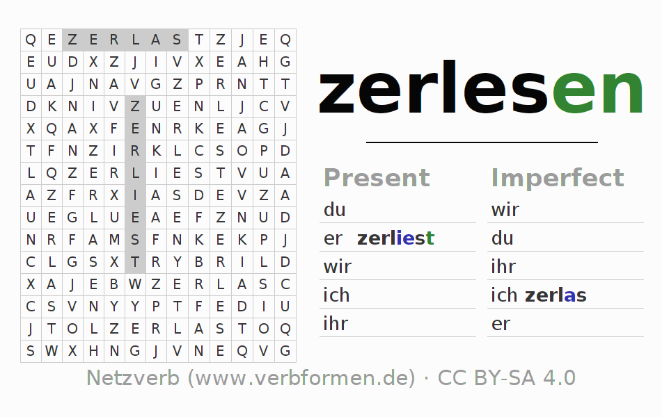 Word search puzzle for the conjugation of the verb zerlesen