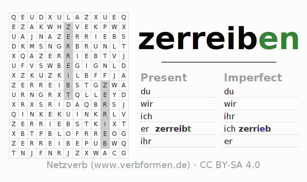 Word search puzzle for the conjugation of the verb zerreiben