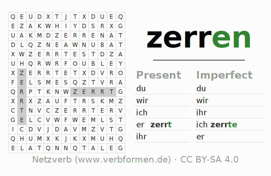 Word search puzzle for the conjugation of the verb zerren