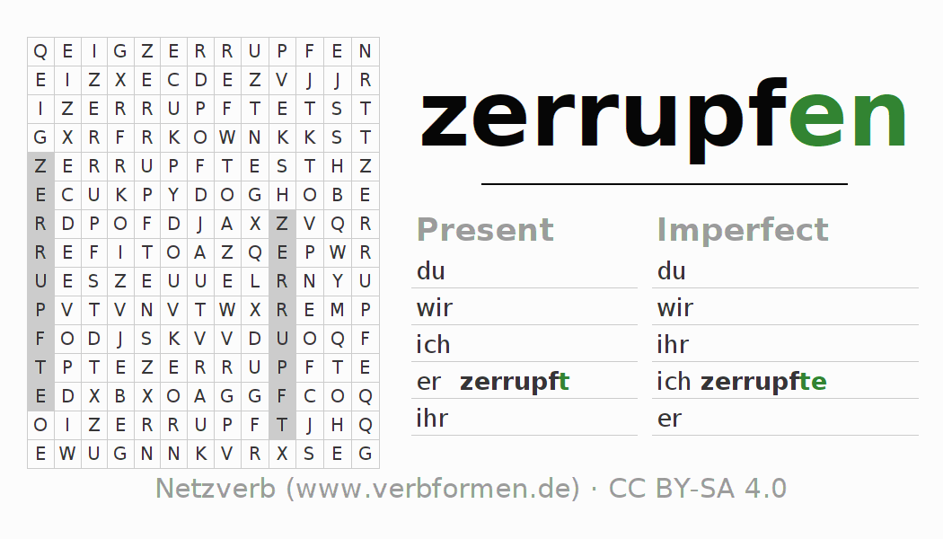 Word search puzzle for the conjugation of the verb zerrupfen