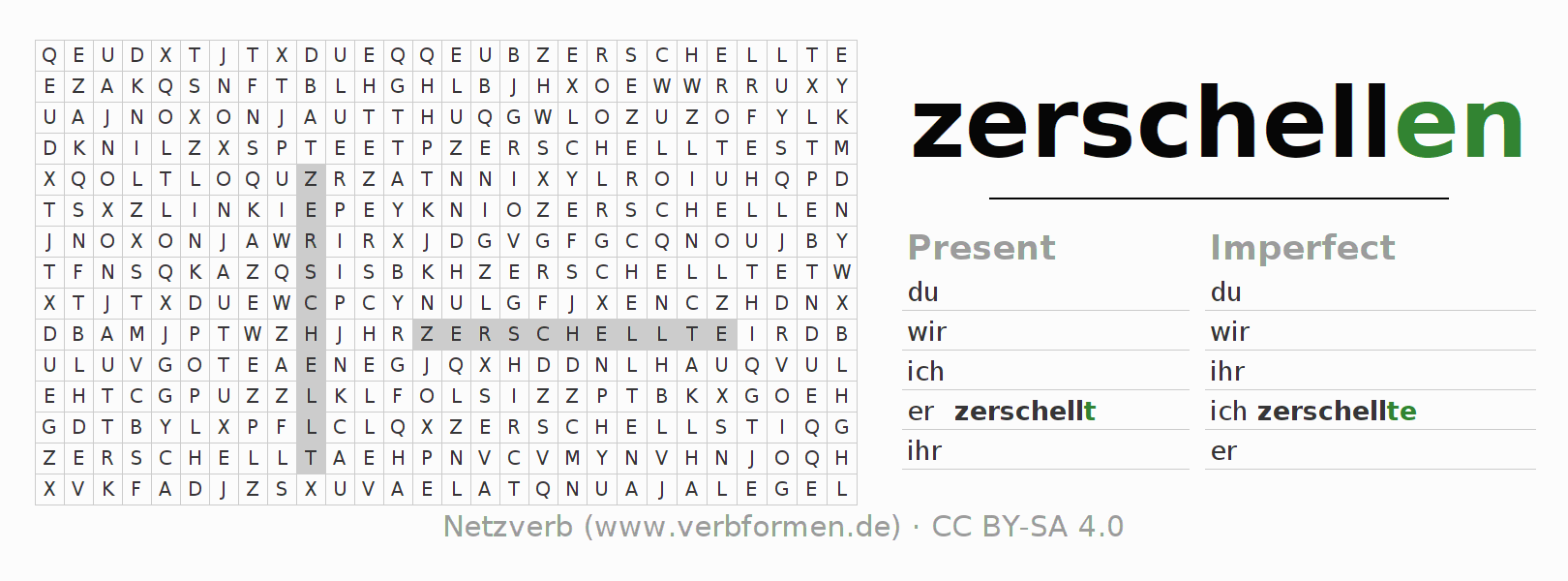 Word search puzzle for the conjugation of the verb zerschellen