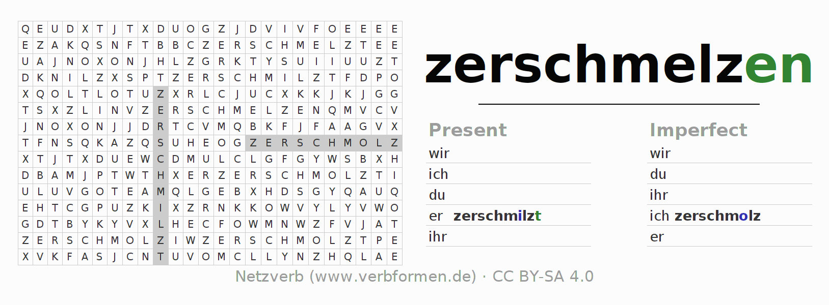 Word search puzzle for the conjugation of the verb zerschmelzen (hat)