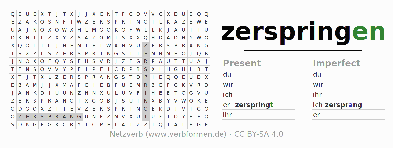 Word search puzzle for the conjugation of the verb zerspringen