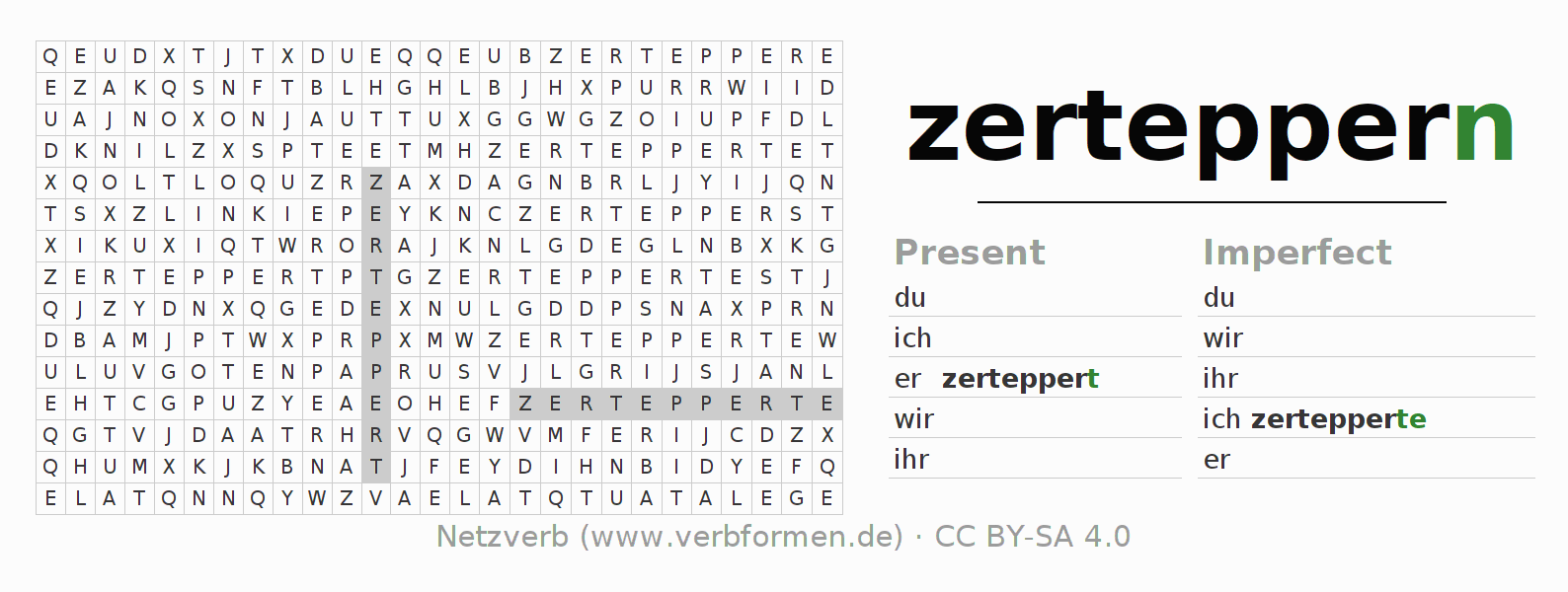Word search puzzle for the conjugation of the verb zerteppern