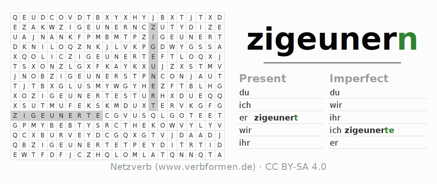Word search puzzle for the conjugation of the verb zigeunern (ist)