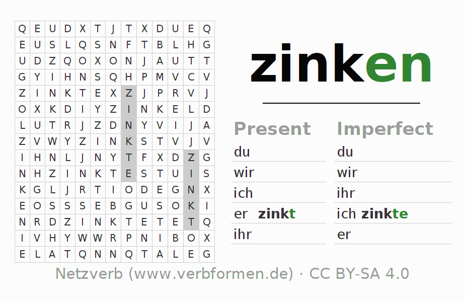 Word search puzzle for the conjugation of the verb zinken