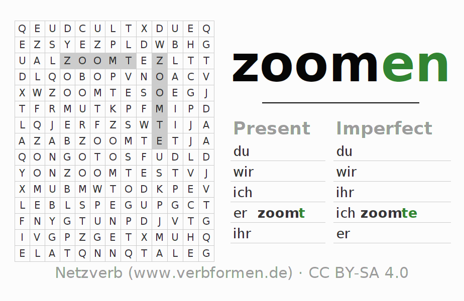 Word search puzzle for the conjugation of the verb zoomen