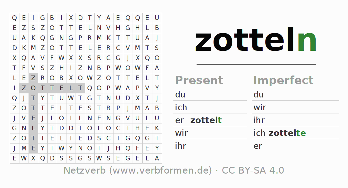 Word search puzzle for the conjugation of the verb zotteln (ist)