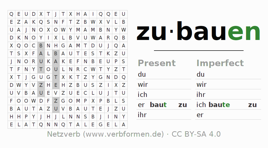 Word search puzzle for the conjugation of the verb zubauen