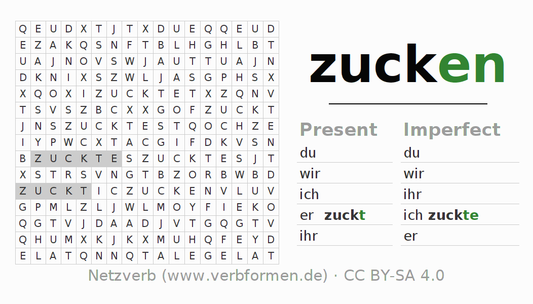Word search puzzle for the conjugation of the verb zucken (hat)