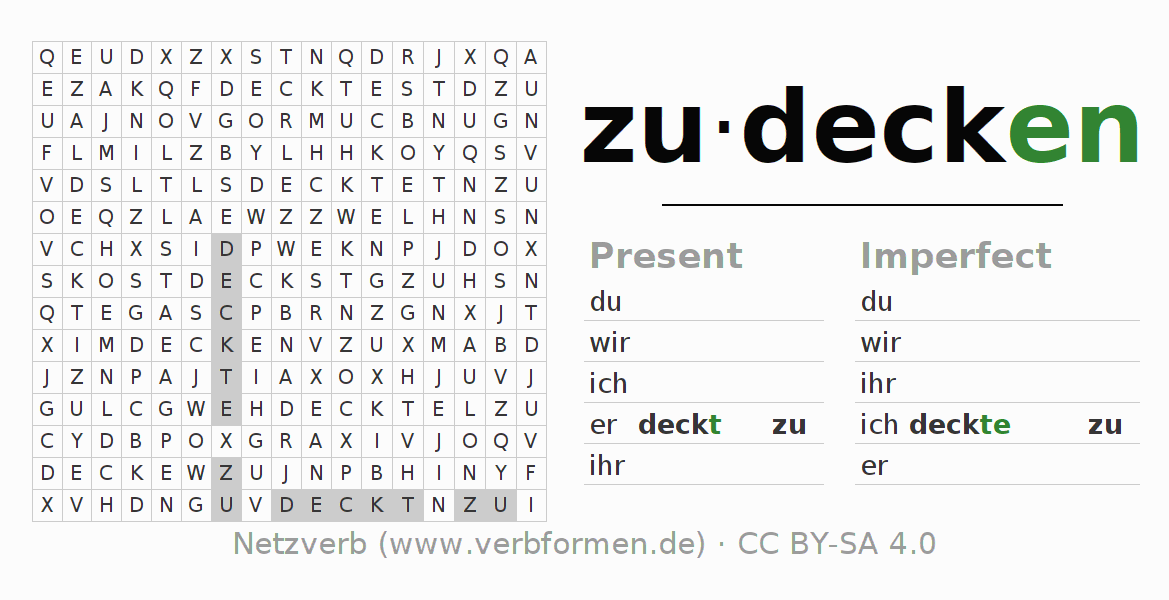 Word search puzzle for the conjugation of the verb zudecken