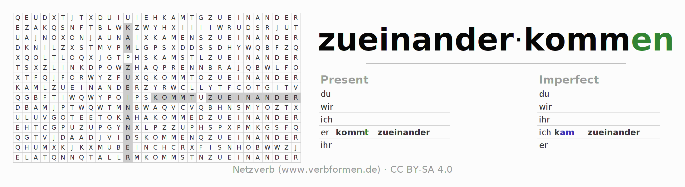 Word search puzzle for the conjugation of the verb zueinanderkommen