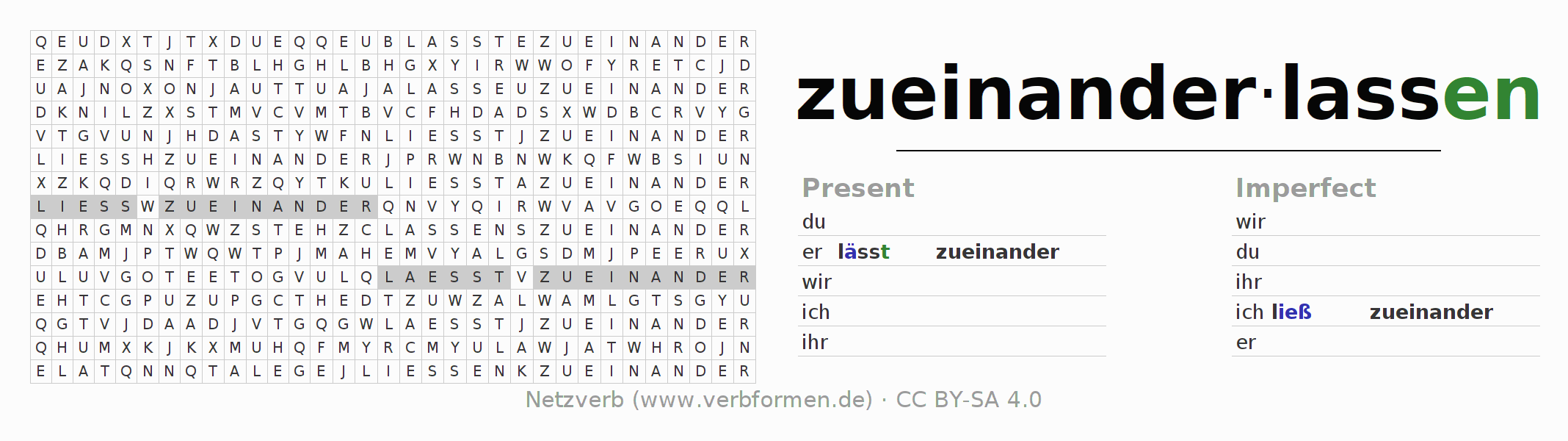 Word search puzzle for the conjugation of the verb zueinanderlassen