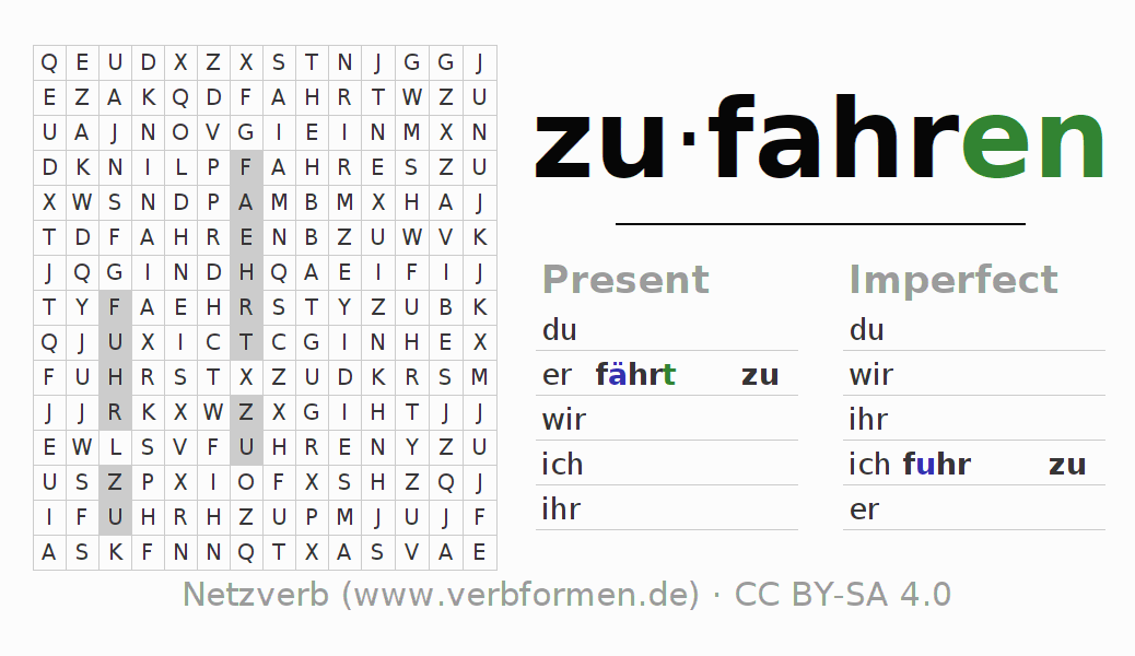 Word search puzzle for the conjugation of the verb zufahren (ist)