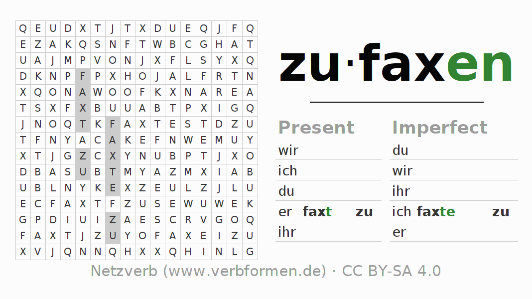 Word search puzzle for the conjugation of the verb zufaxen