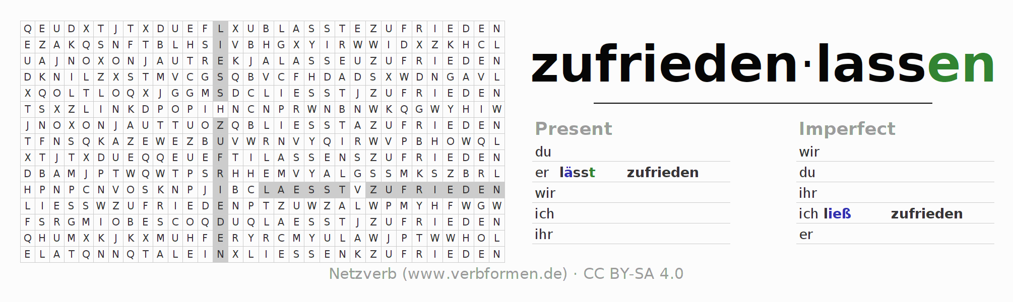Word search puzzle for the conjugation of the verb zufriedenlassen