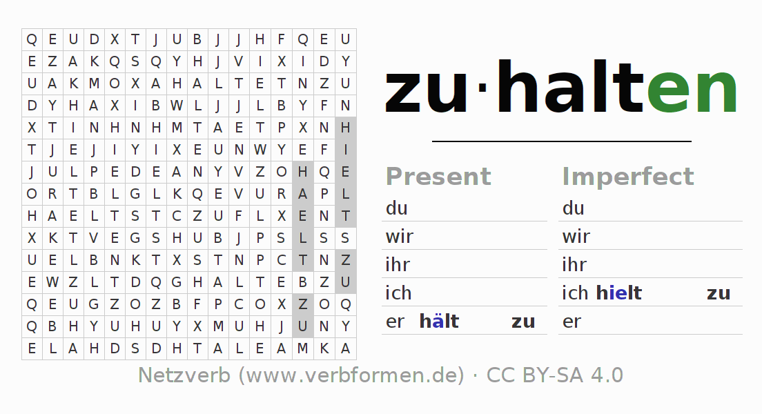 Word search puzzle for the conjugation of the verb zuhalten
