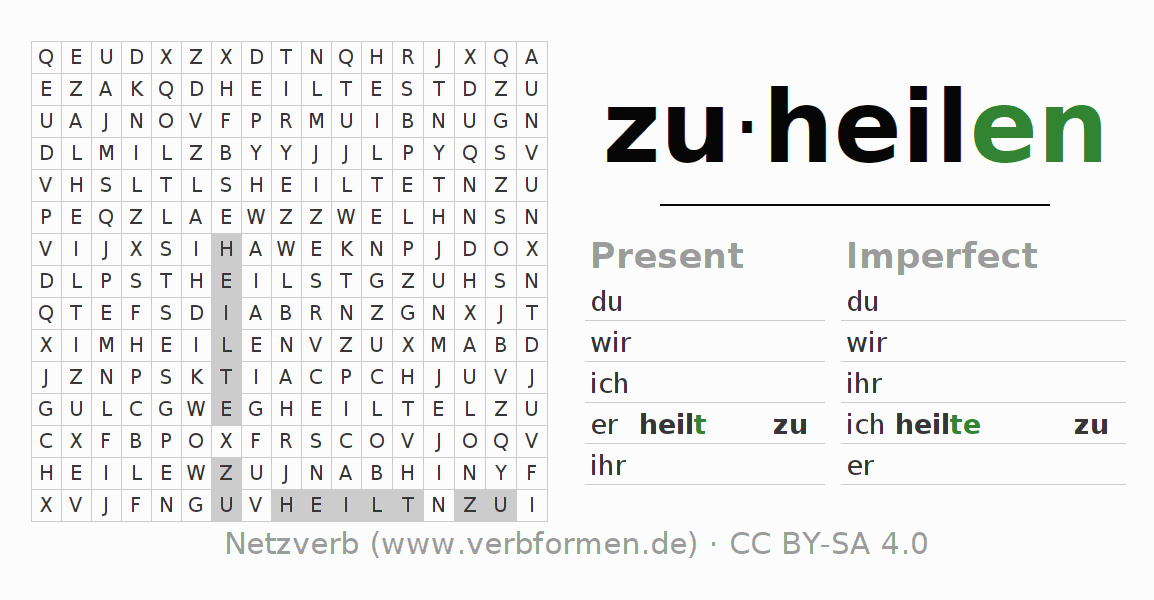 Word search puzzle for the conjugation of the verb zuheilen