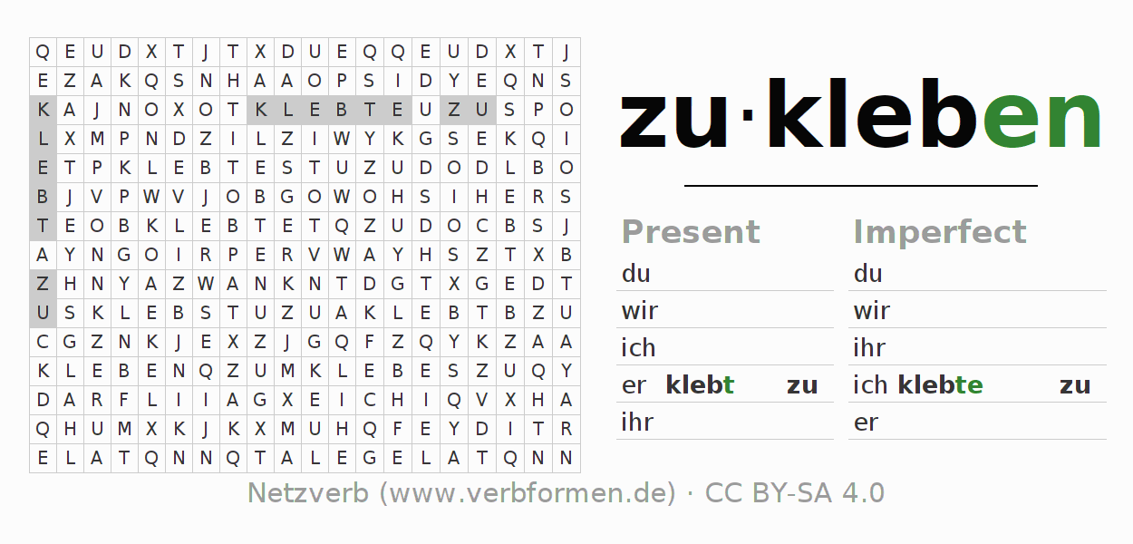Word search puzzle for the conjugation of the verb zukleben