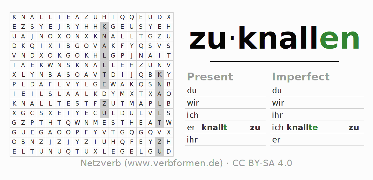 Word search puzzle for the conjugation of the verb zuknallen (ist)
