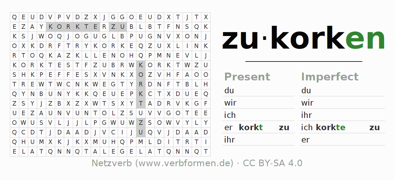 Word search puzzle for the conjugation of the verb zukorken