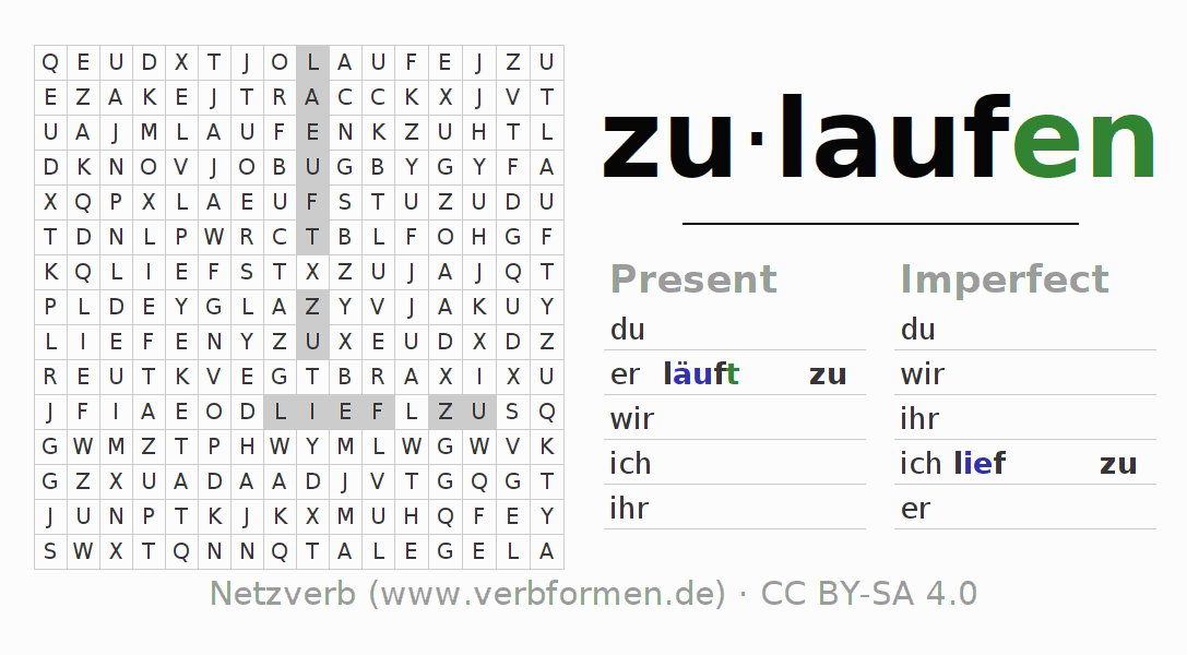 Word search puzzle for the conjugation of the verb zulaufen