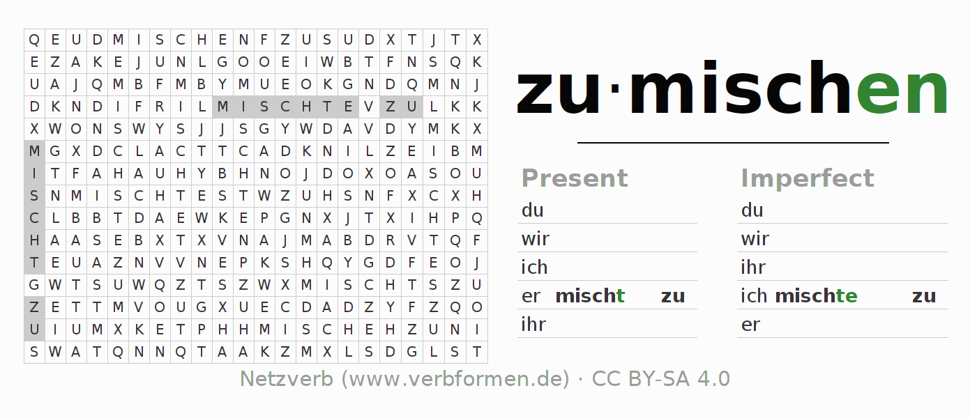 Word search puzzle for the conjugation of the verb zumischen