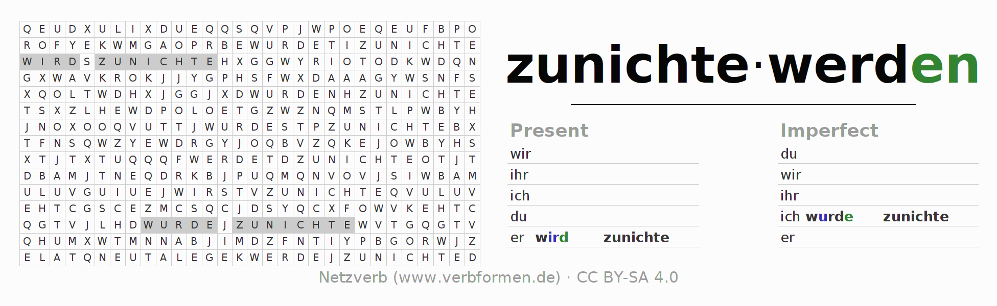 Word search puzzle for the conjugation of the verb zunichtewerden