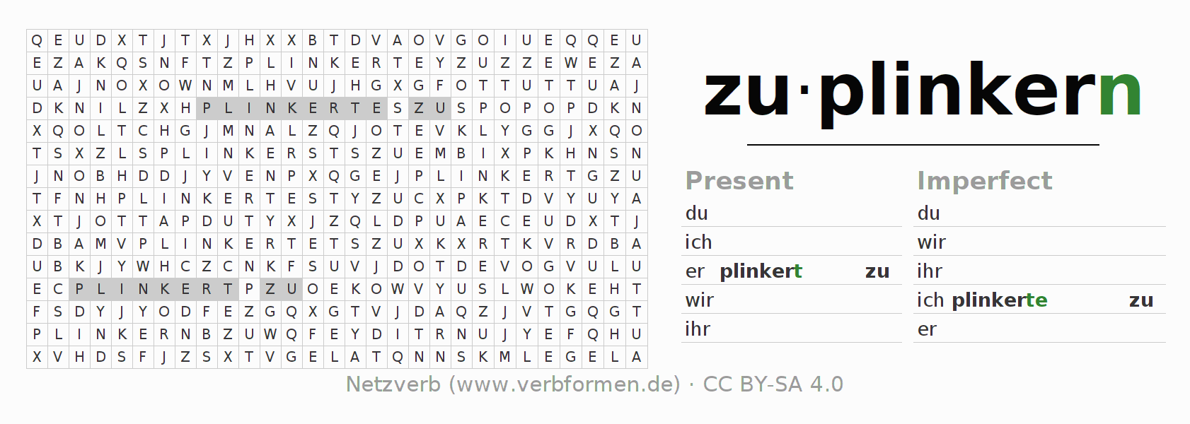 Word search puzzle for the conjugation of the verb zuplinkern