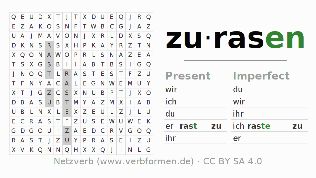 Word search puzzle for the conjugation of the verb zurasen