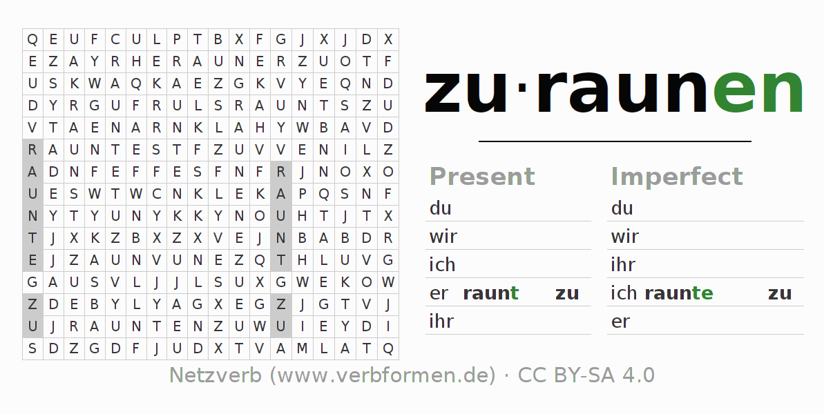 Word search puzzle for the conjugation of the verb zuraunen