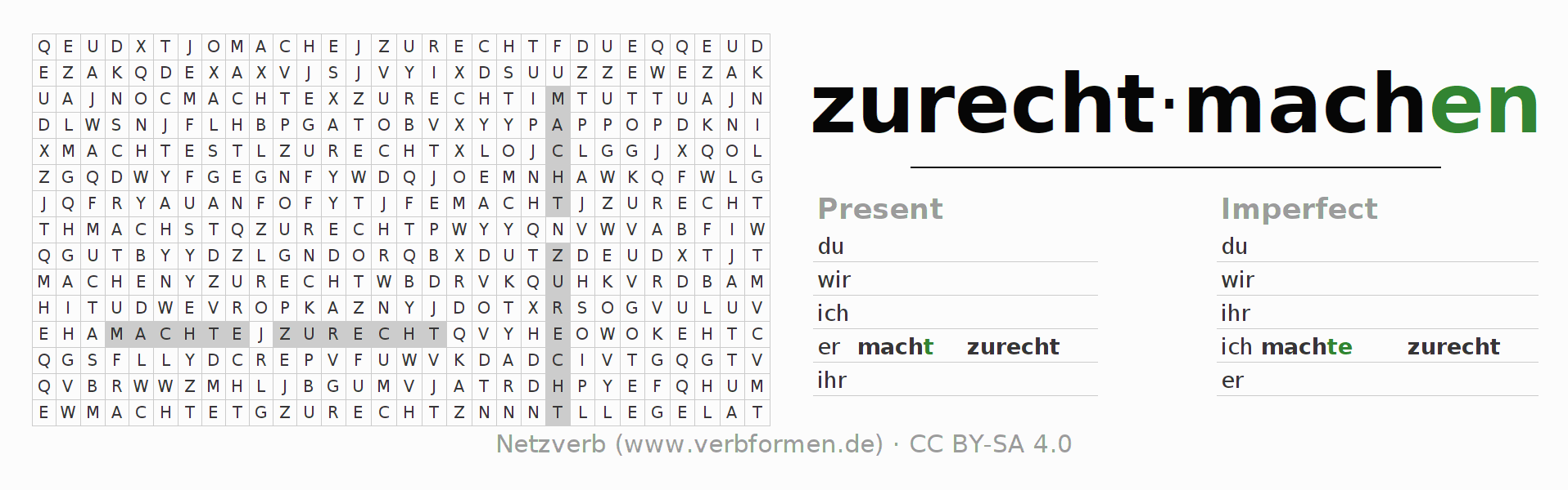 Word search puzzle for the conjugation of the verb zurechtmachen