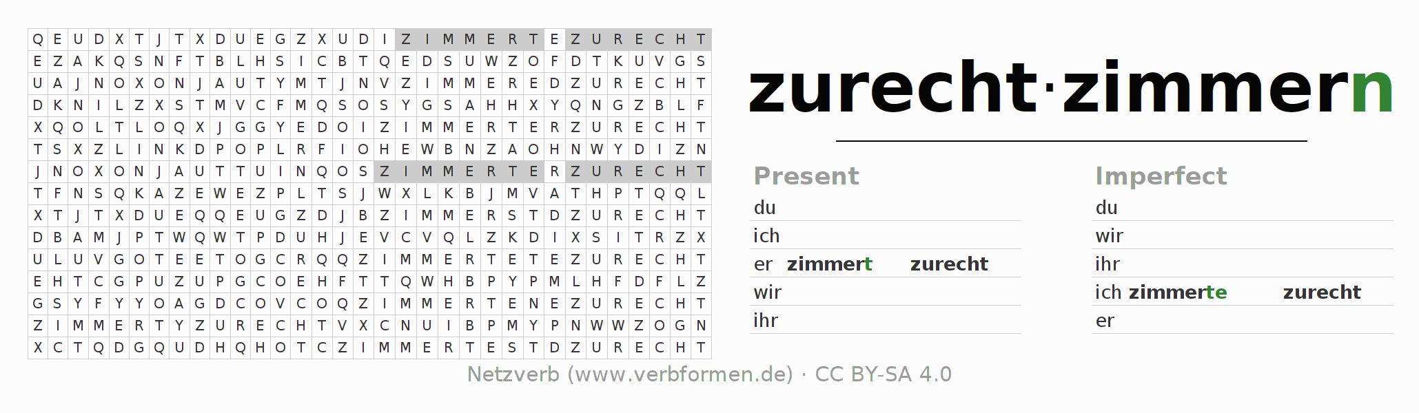 Word search puzzle for the conjugation of the verb zurechtzimmern