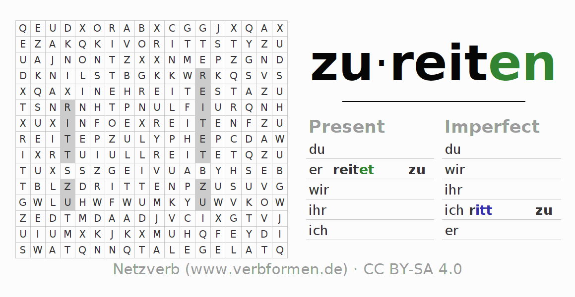 Word search puzzle for the conjugation of the verb zureiten (hat)