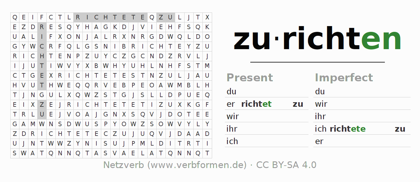 Word search puzzle for the conjugation of the verb zurichten