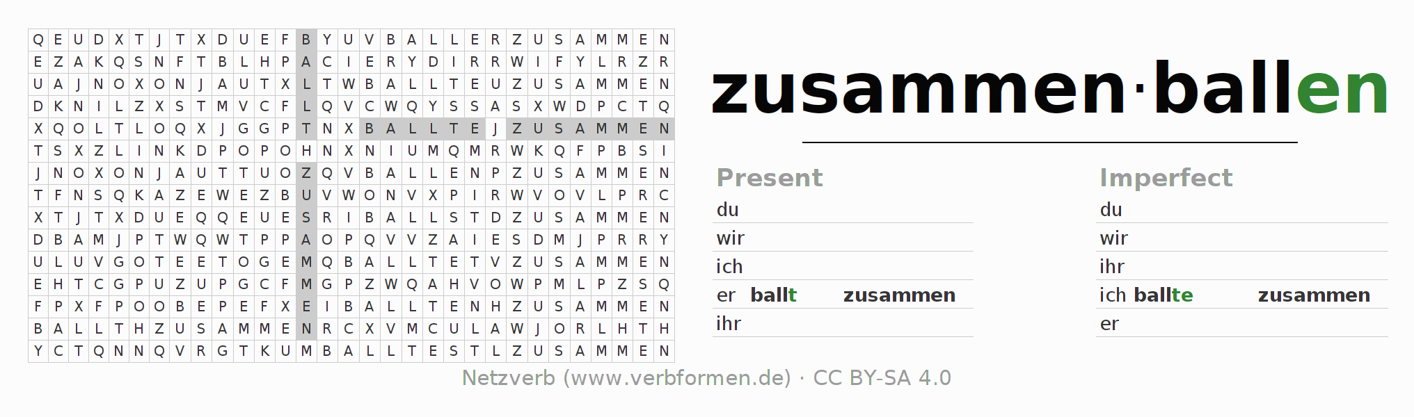 Word search puzzle for the conjugation of the verb zusammenballen