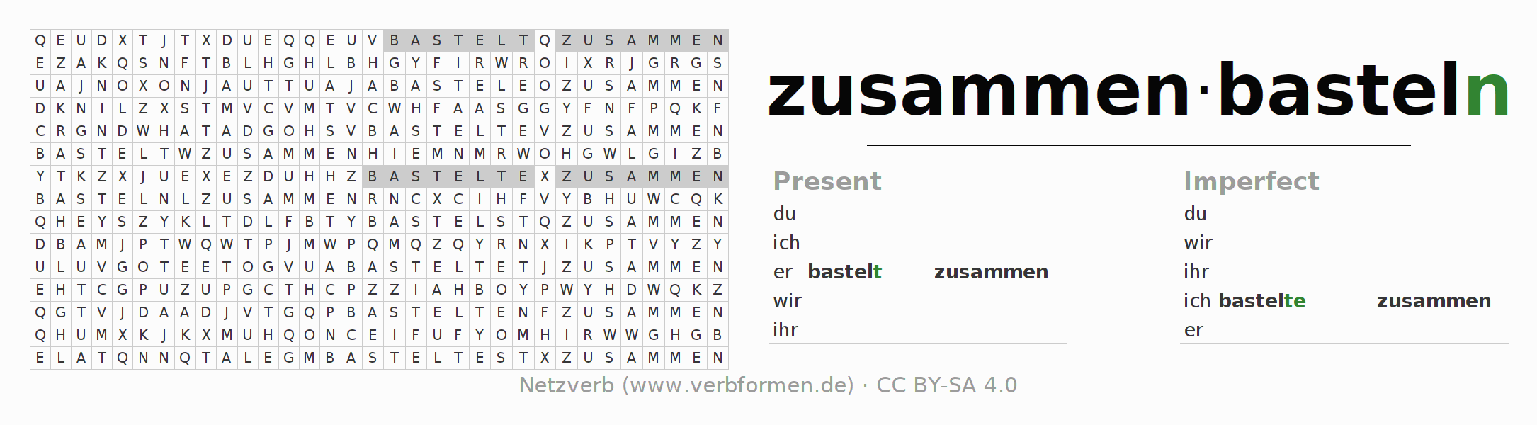 Word search puzzle for the conjugation of the verb zusammenbasteln