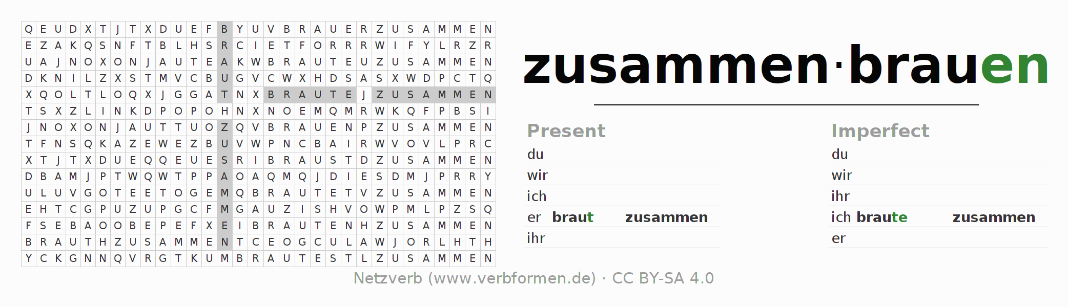 Word search puzzle for the conjugation of the verb zusammenbrauen