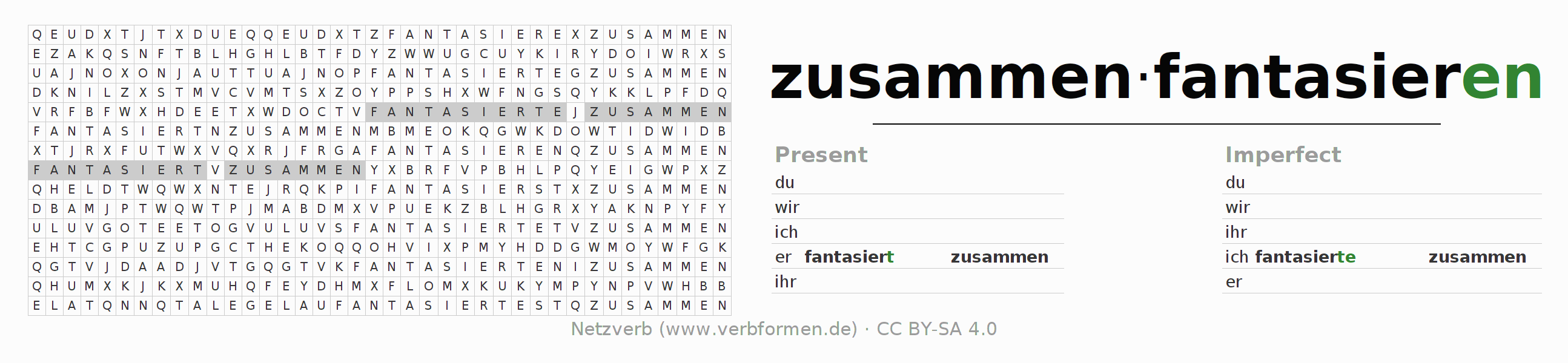 Word search puzzle for the conjugation of the verb zusammenfantasieren