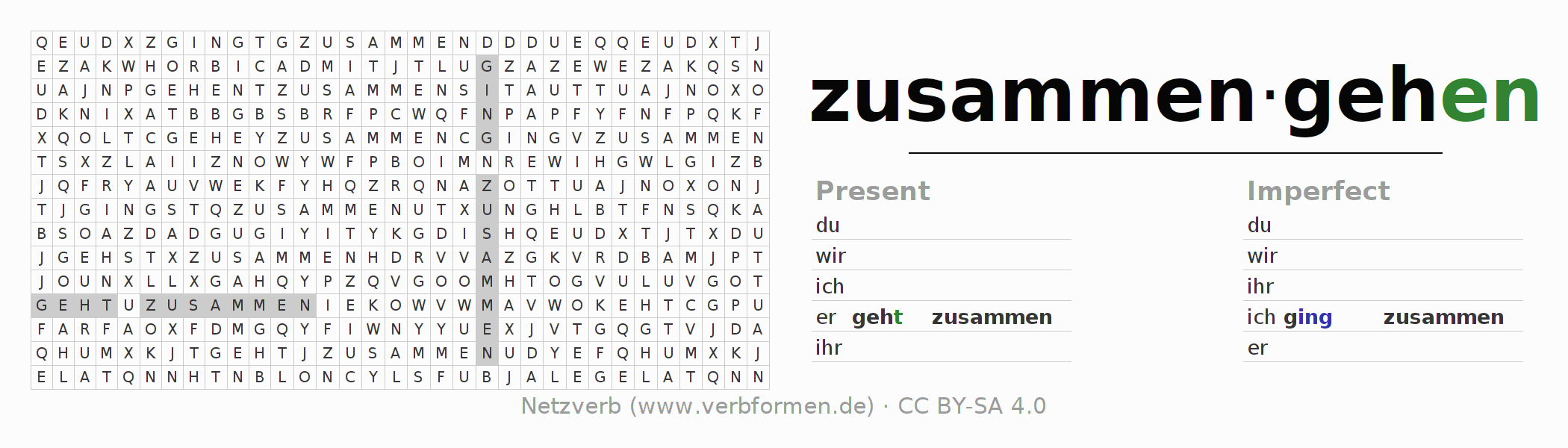 Word search puzzle for the conjugation of the verb zusammengehen