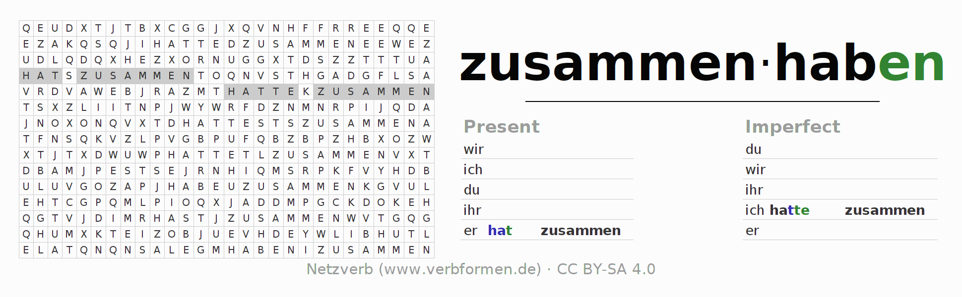 Word search puzzle for the conjugation of the verb zusammenhaben