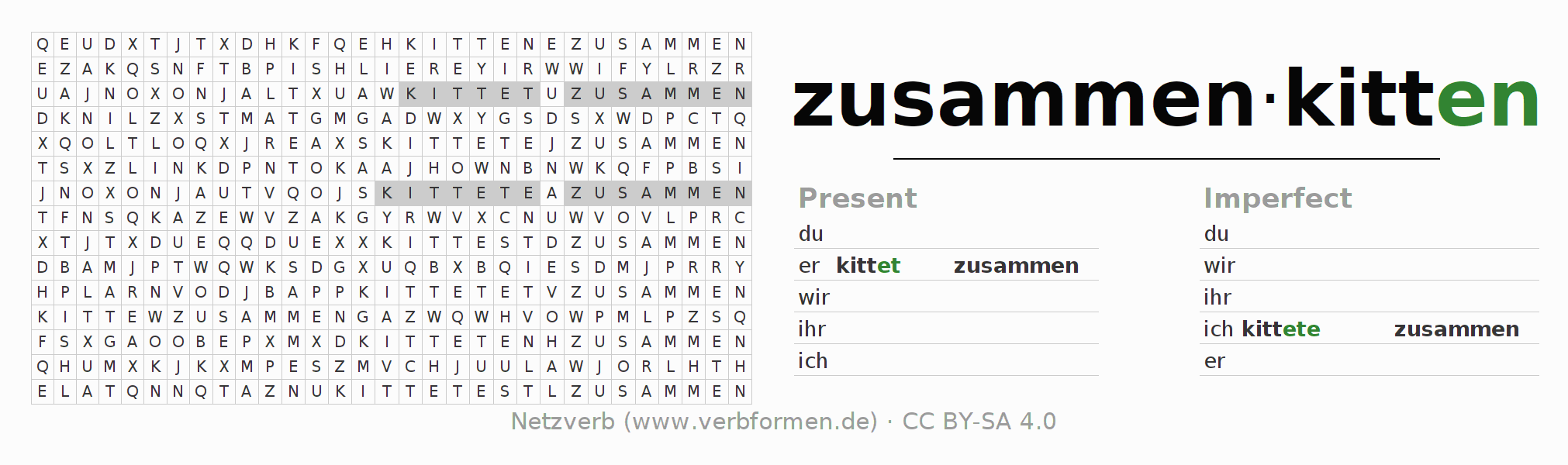 Word search puzzle for the conjugation of the verb zusammenkitten