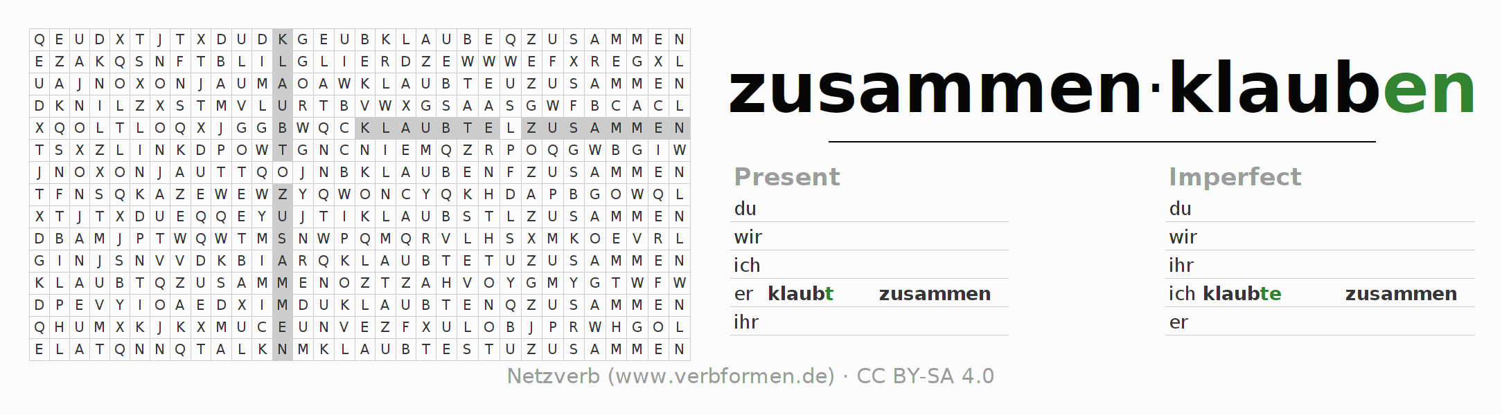 Word search puzzle for the conjugation of the verb zusammenklauben