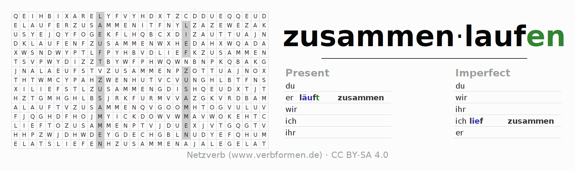 Word search puzzle for the conjugation of the verb zusammenlaufen