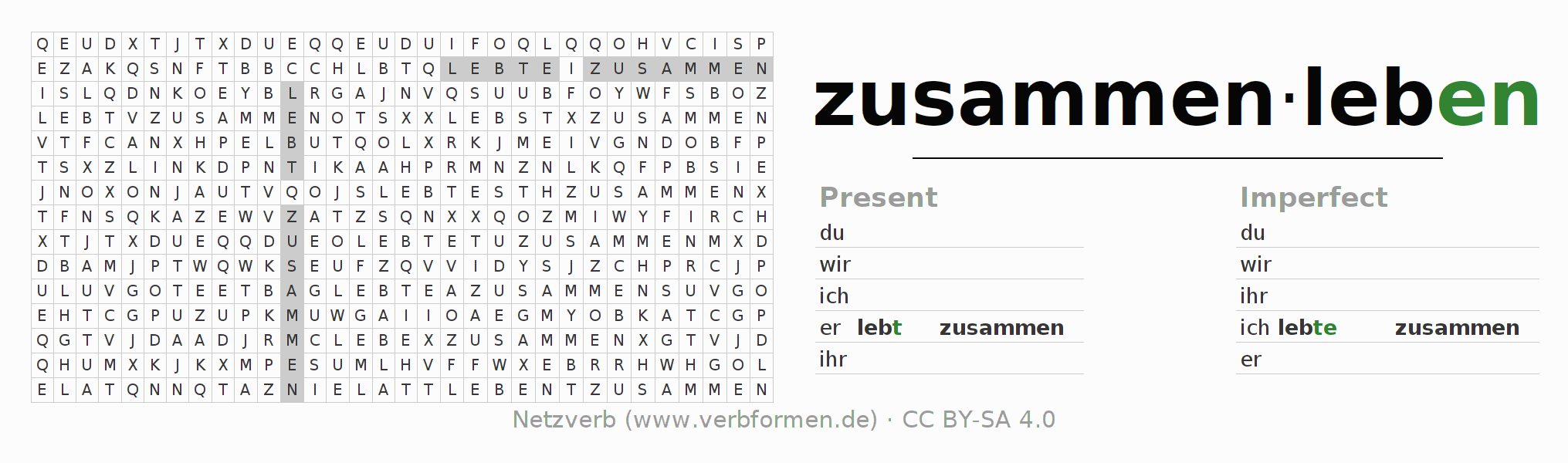 Word search puzzle for the conjugation of the verb zusammenleben